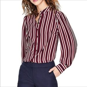 NEW Boden   Silk Blouson Sleeve Stripe Blouse 18